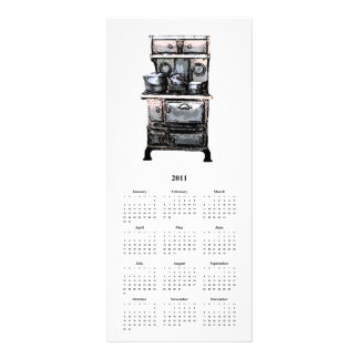 Old Stove and Tea Kettle, and Calender card Rack Card