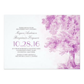 old tree purple heart watercolor engagement party 13 cm x 18 cm invitation card
