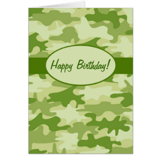 Olive Green Camo Camouflage Happy Birthday Custom Greeting Card