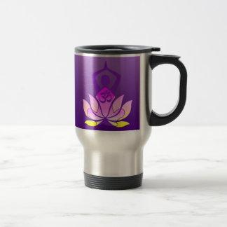 Om Lotus Flower Yoga Pose on Purple Gradient Stainless Steel Travel Mug