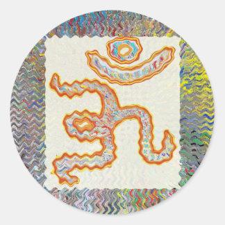 Om Mantra : Golden Wave Round Sticker