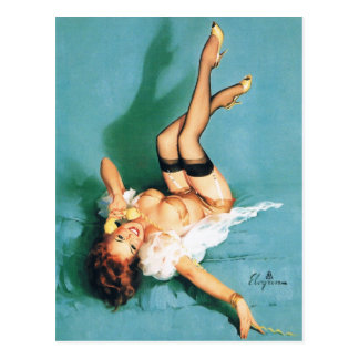 On the Phone - Vintage Pin Up Girl Postcard