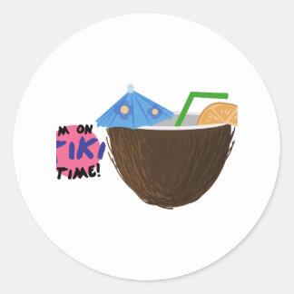 On Tiki Time Round Sticker