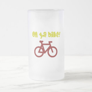 On Ya Bike! (yellow text & red bicycle) Frosted Glass Mug