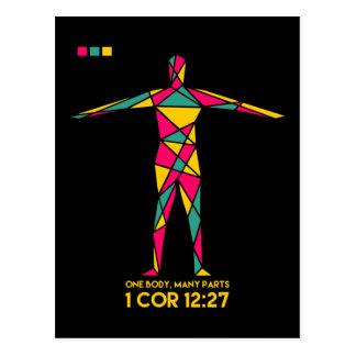 One Body Many Parts Cubism (1 Corinthians 12:27) Postcard