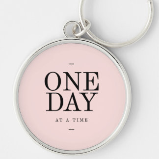 One Day Perseverance Quote Blush Pink Gift Silver-Colored Round Key Ring