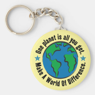 One Planet Is All You Get Basic Round Button Key Ring