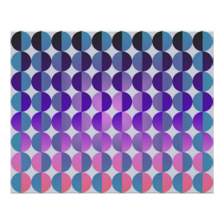 Op Art Big Circles By Half Blue Purple And Magenta Poster
