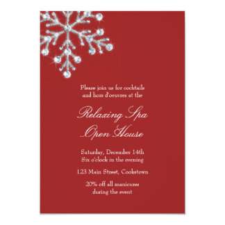 Open House Red Offset Crystal Snowflake 13 Cm X 18 Cm Invitation Card