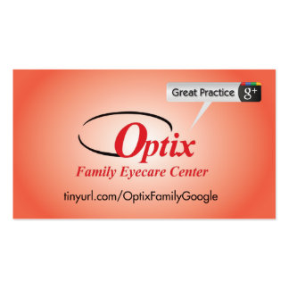 Optix Family Eyecare Pack Of Standard Business Cards