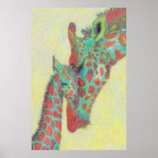 orange and aqua giraffes poster