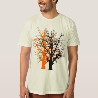 ORANGE AND BLACK BARE TREES PATTERN T-SHIRT