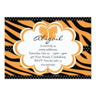 Orange and Black Tiger Print 13 Cm X 18 Cm Invitation Card