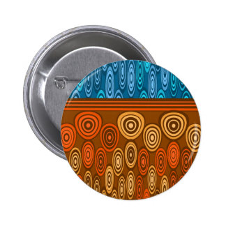 Orange and blue design 6 cm round badge