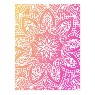 Orange and pink mandala postcard