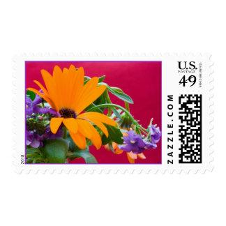 Orange And Purple Theme Flower Postage