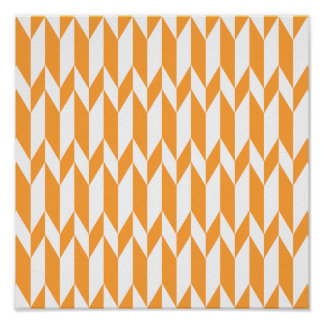 Orange and White Abstract Graphic Pattern. Poster