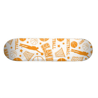 Orange and White Basketball Pattern Custom Skateboard