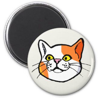Orange and White Cat Drawing Fridge Magnet