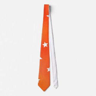 Orange and White Star Pattern Tie