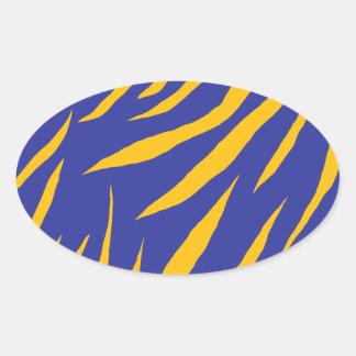 Orange Animal Stripes Oval Sticker