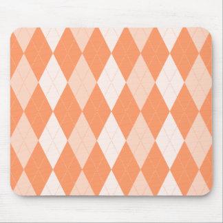 Orange Argyle Pastel Tangerine Small Diamond Shape Mouse Pad