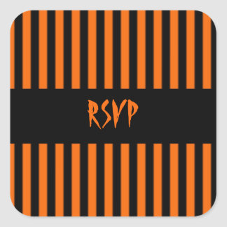 Orange & Black Stripe Halloween RSVP Sticker