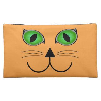 Orange Cat Face Makeup Bag