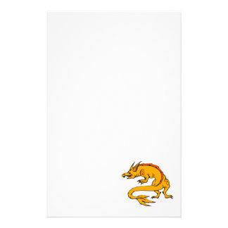 Orange Crawling Dragon Custom Stationery
