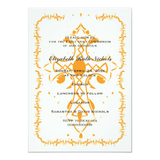 Orange Cross First Communion Confirmation 13 Cm X 18 Cm Invitation Card