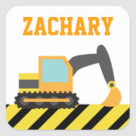 Orange Excavator, Construction Vehicle, For kids Square Sticker