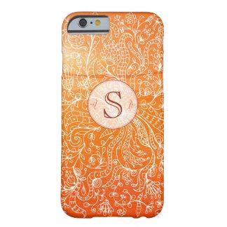 Orange Floral Art Custom Monogram iPhone 6 Case