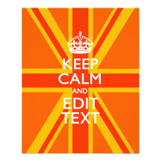 Orange Keep Calm and Your Text on a Union Jack 11.5 Cm X 14 Cm Flyer