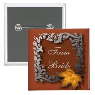 orange leaves autumn wedding 15 cm square badge