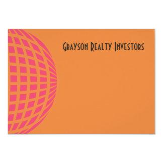 orange pink modern global circle 13 cm x 18 cm invitation card