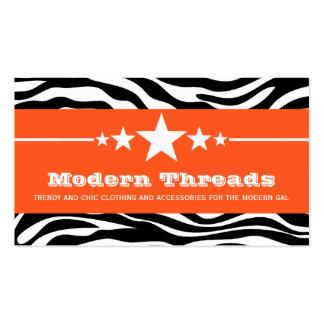 Orange Sassy Star Zebra Print Business Card
