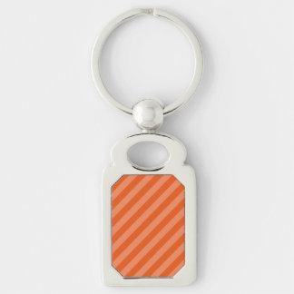 Orange Stripe Design Silver-Colored Rectangle Key Ring