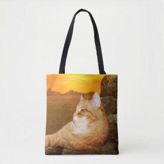 Orange tabby cat in sunshine tote bag