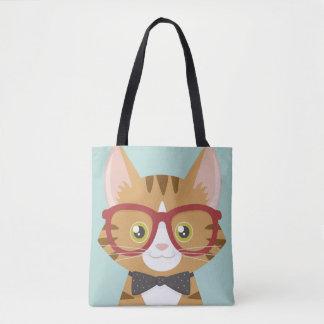 Orange Tabby Hipster Cat Illustration Tote Bag
