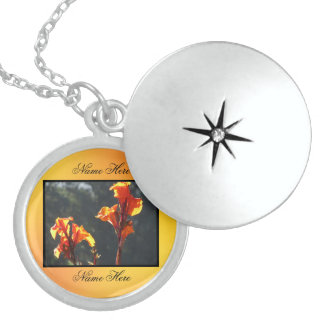 Orange Yellow Gladiolus Flowers Round Locket Necklace