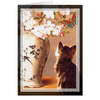 Oriental flowers and butterflies greeting card