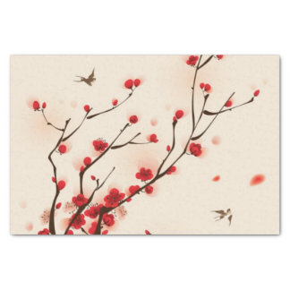 """Oriental style painting, plum blossom in spring 2 10"""" x 15"""" tissue paper"""