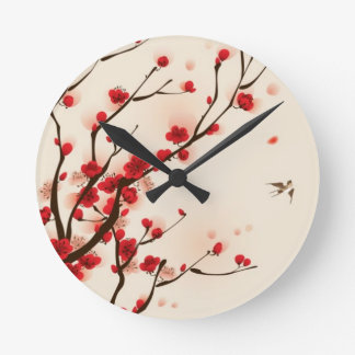 Oriental style painting, plum blossom in spring 2 wall clocks