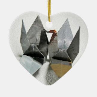 Origami birds ceramic heart decoration