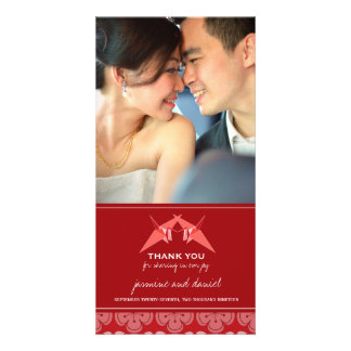 Origami Red Paper Cranes Sakura Wedding Thank You Picture Card