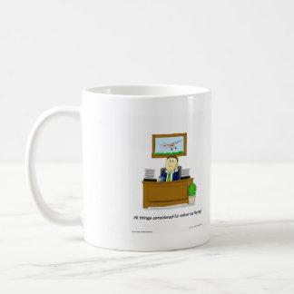 Original cartoon, showing daydreaming flyer basic white mug