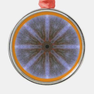 Ornamentation approx. 5cm - Blüten-Mandala-1 Silver-Colored Round Decoration