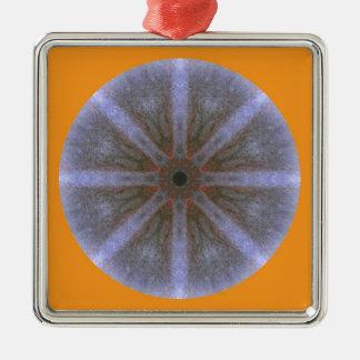 Ornamentation approx. 5cm - Blüten-Mandala-1 Silver-Colored Square Decoration