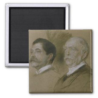 Otto von Bismarck and his Son Herbert Square Magnet
