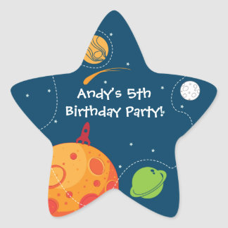 Outer Space Astronaut Birthday Favor Sticker